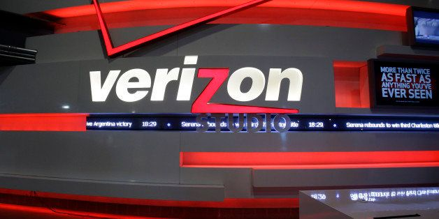FILE - This April 7, 2013, file photo, shows the Verizon studio booth at MetLife Stadium, in East Rutherford, N.J. Verizon Co