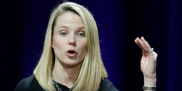 In this Feb. 19, 2015 photo, Yahoo President and CEO Marissa Mayer delivers the keynote address at the first-ever Yahoo Mobil