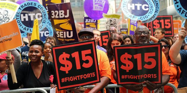 NEW YORK, NY - JULY 22:  Labor leaders, workers and activists attend  a rally for a $15 minimum hourly wage on July 22, 2015