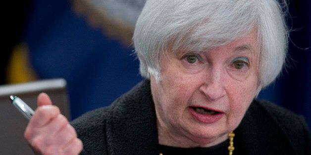 Janet Yellen, chair of the U.S. Federal Reserve, speaks during a news conference following a Federal Open Market Committee (F