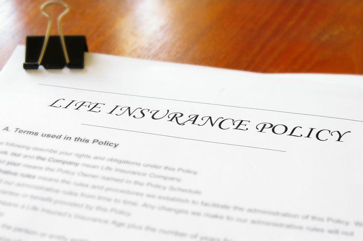 closeup of a life insurance...