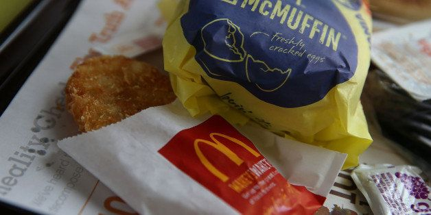 FAIRFIELD, CA - JULY 23:  A McDonald's Egg McMuffin and hash browns are displayed at a McDonald's restaurant on July 23, 2015