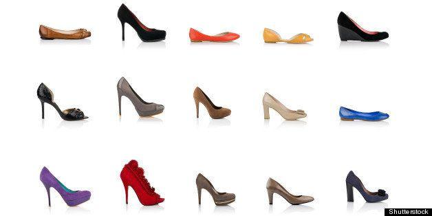 many fashionable female shoes...