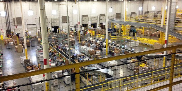 One of Amazon's newest distribution centers in Tracy, Calif., is seen during a tour Sunday, Nov. 30, 2014. This Amazon Fulfil