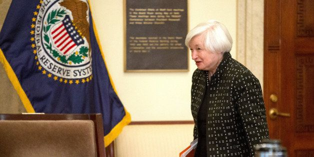 Federal Reserve Chair Janet Yellen arrives at a Board of Governors meeting to discuss a final rule to implement the Dodd-Fran