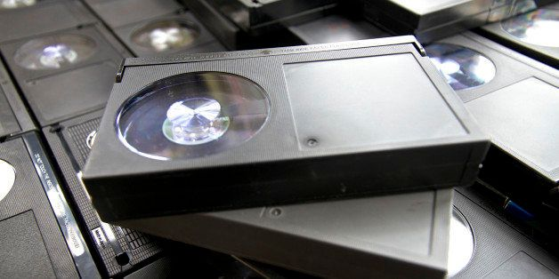 From the 1970s and 80s a collection of old Betamax video tapes used to record off-air tv programmes