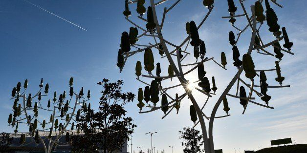 A picture taken on December 3, 2015 shows 'wind trees', a renewable energy innovation constructed in the shape of a tree, whe