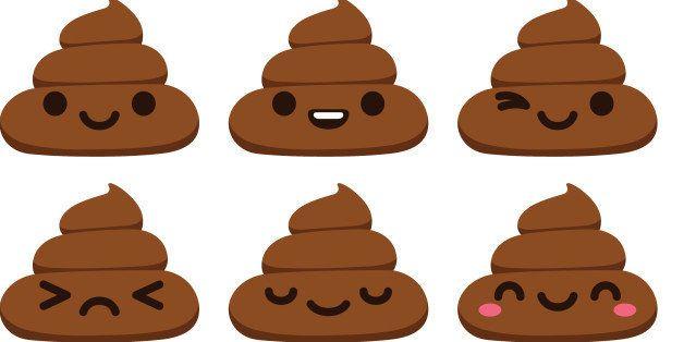 Set of 12 cute poop emoticons in modern flat vector style.