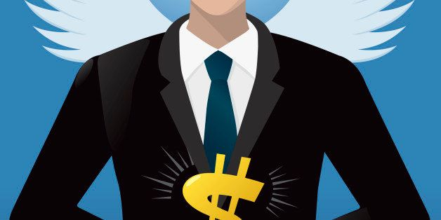Illustration of an angel investor offering investment.