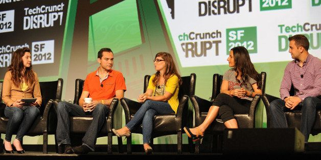 SAN FRANCISCO, CA - SEPTEMBER 10:  Nate Blecharczyk (Airbnb), Leah Busque (TaskRabbit), Brit Morin (brit.co) and John Zimmer
