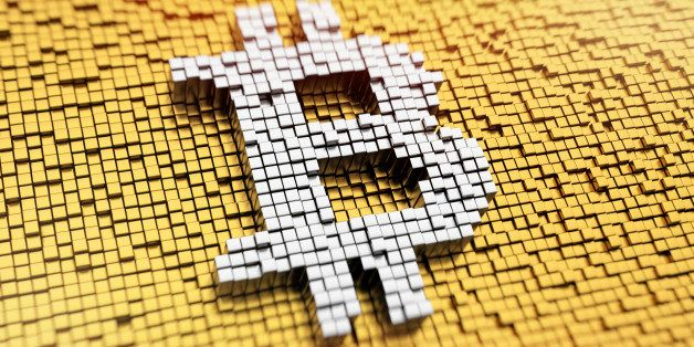 Pixelated Bitcoin symbol made from cubes, mosaic pattern