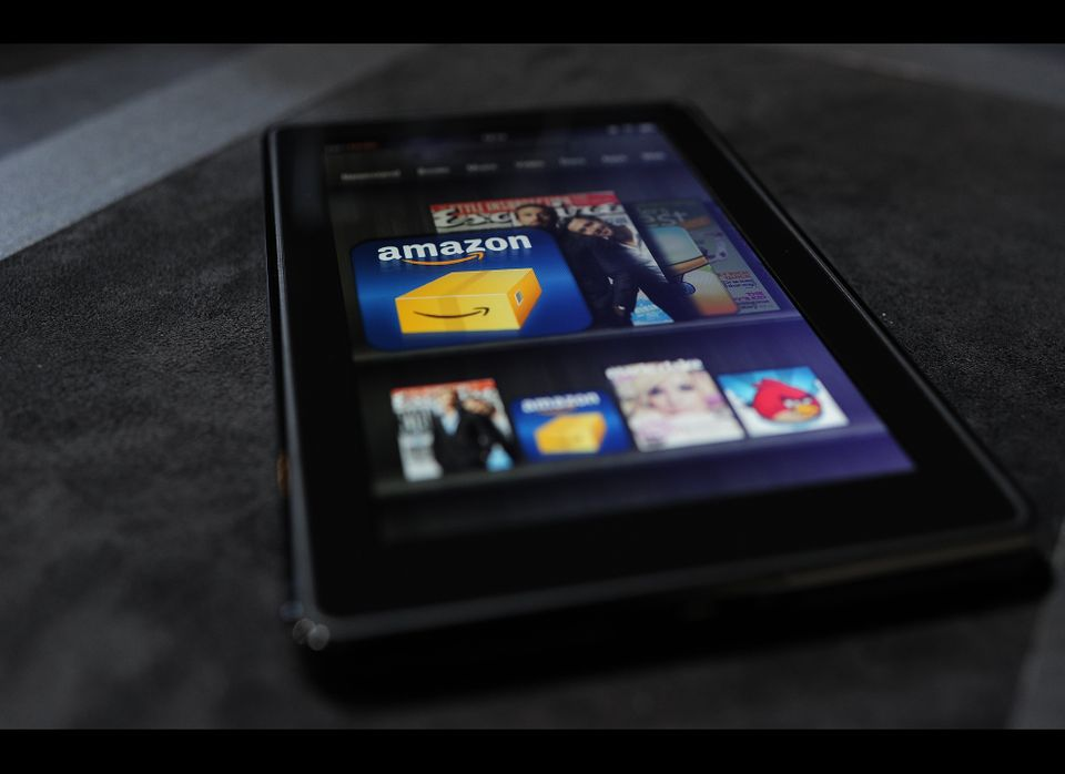 """The new black 7.5-inch tablet is <a href=""""http://www.amazon.com/Kindle-Wireless-Reader-Wifi-Graphite/dp/B002Y27P3M?tag=thehuf"""