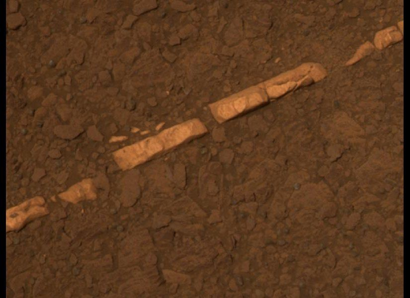 "This color view of a mineral vein called ""Homestake"" comes from the panoramic camera (Pancam) on NASA's Mars Exploration Rove"