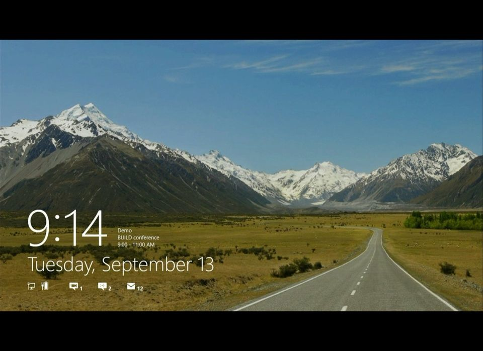 The new lock screen for Windows 8, which appears after you put your computer to sleep or restart or lock your computer. Notif