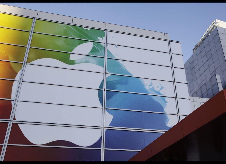 Exterior view before an Apple event in San Francisco, Wednesday, March 7, 2012. Apple is holding an event Wednesday and has h