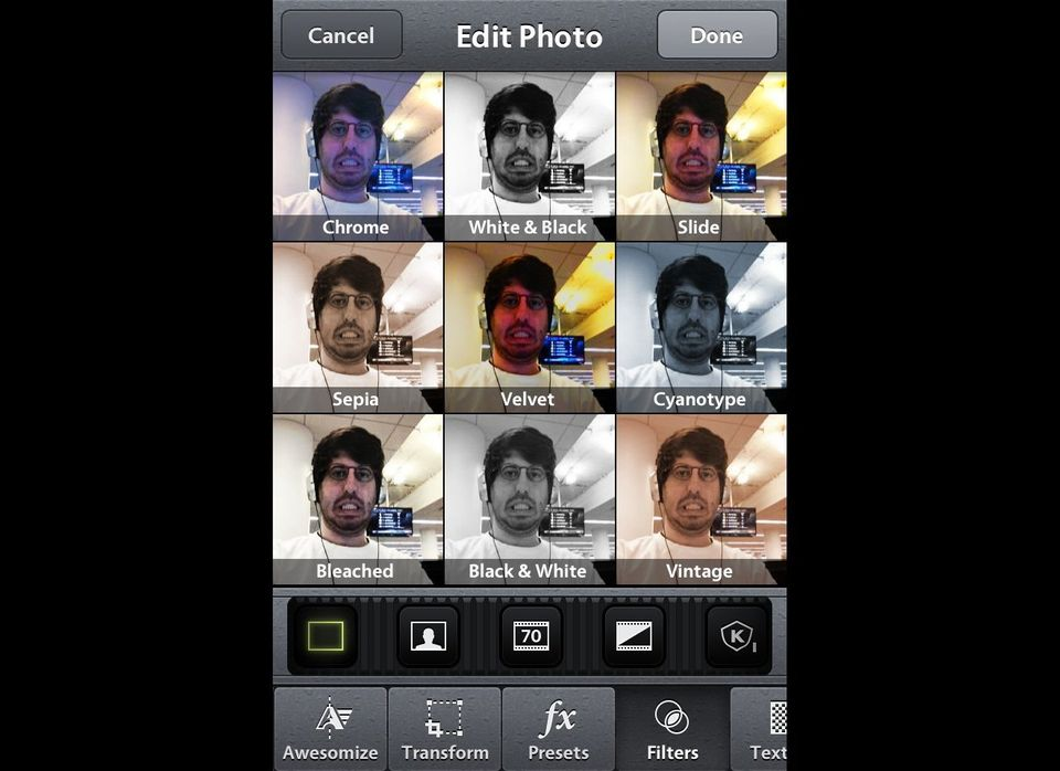 """The free app from SmugMug is more of a wholesale camera app then a filter specialty app -- its specialty """"Awesomize"""" button i"""