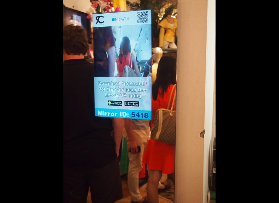 Here's the process: First, the tablet in the mirror flashes a code, which you can input into your Pickn'Tell app in order to