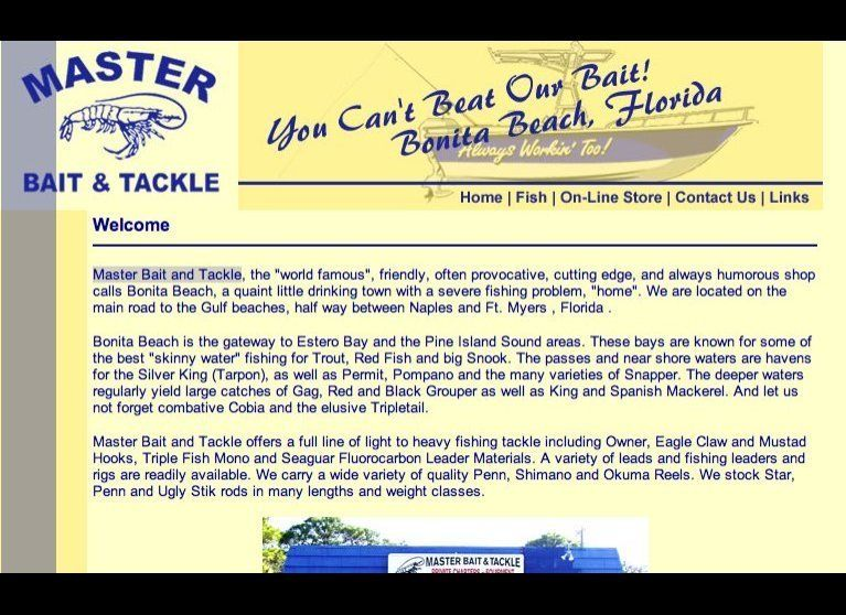 "<a href=""http://masterbaitonline.com/"" target=""_hplink"">Master Bait and Tackle</a> on Florida's Gulf coast isn't the only bai"