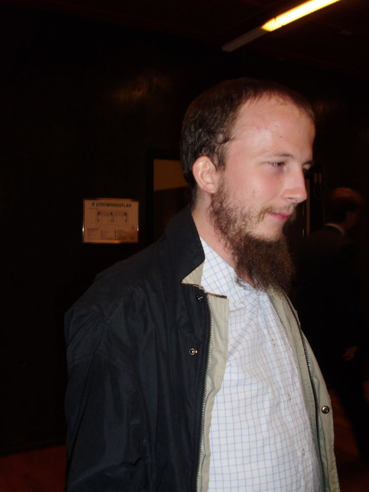 Description Gottfried Svartholm Warg, posecuted The Pirate Bay-person, at the district court in Stockholm in Sweden, at The P