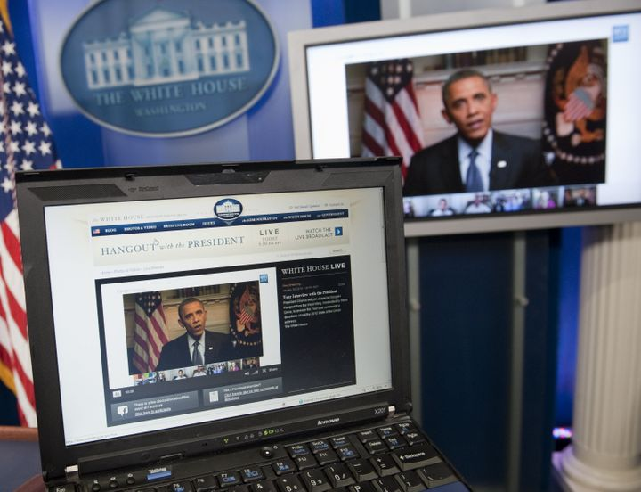 US President Barack Obama participates in an interview with YouTube and Google from the Roosevelt Room of the White House in