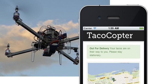 """This is perhaps the most well-known use of drones outside of wartime: the snack-delivering drone. From <a href=""""https://www.h"""