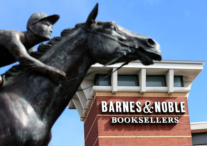 SAN BRUNO, CA - FEBRUARY 28:  A statue of the racehorse Seabuiscut is displayed in front of a Barnes and Noble bookstore on F