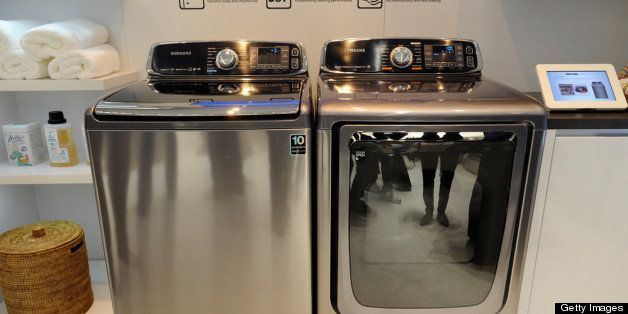 LAS VEGAS, NV - JANUARY 08:  Samsung's Smart Care washer and dryer are on display at the 2013 International CES at the Las Ve