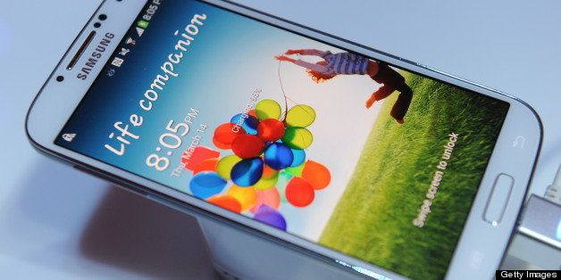 Samsung's new Galaxy S4 is seen during its unveiling on March 14, 2013 at Radio City Music Hall in New York.  The slim, featu