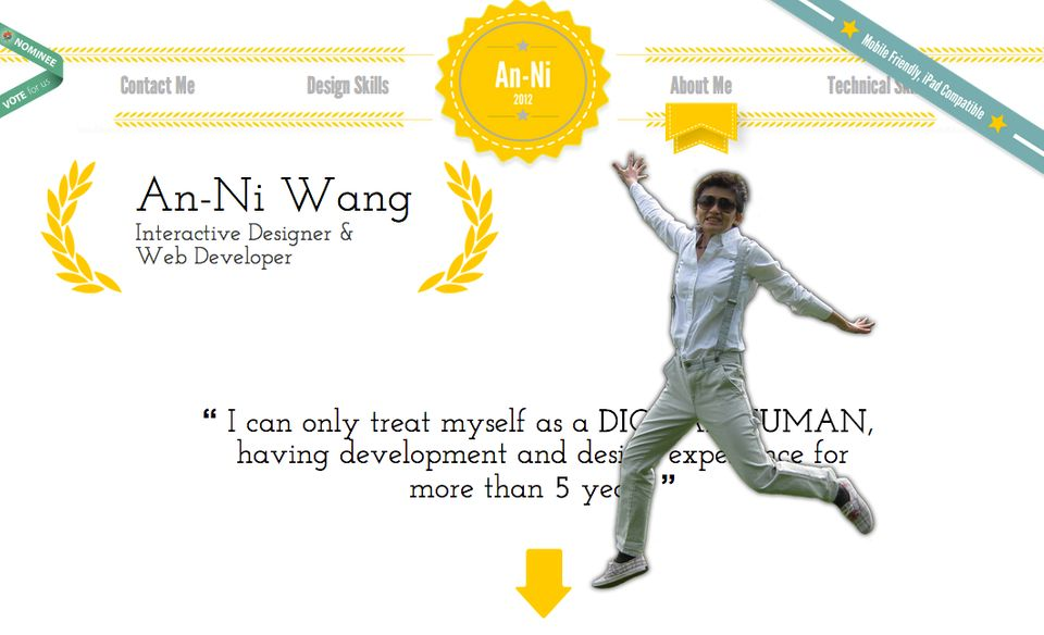 "An-Ni Wang is a digital artist. Her <a href=""http://www.anniwang.com/"" target=""_blank"">interactive resume</a> is a thing of b"
