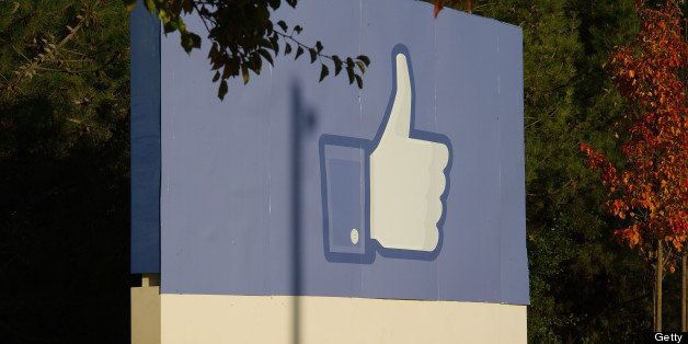 The Facebook Inc. thumbs-up 'Like' icon is displayed on a sign at the company's new campus in Menlo Park, California, U.S., o