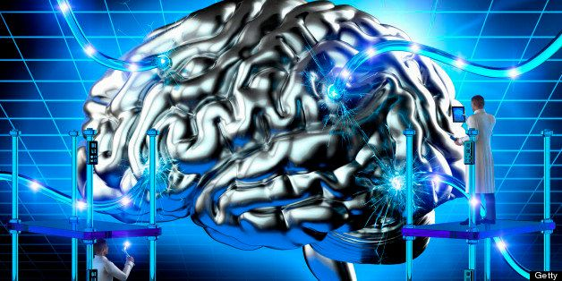Scientists examining wired human brain