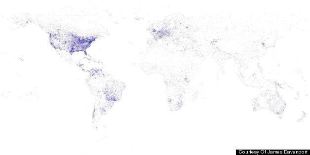Davenport Washington Map.James Davenport Creates World Map Based On Airports Runways And