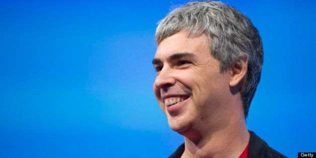 Larry Page, co-founder and chief executive officer at Google Inc., smiles during the Google I/O Annual Developers Conference