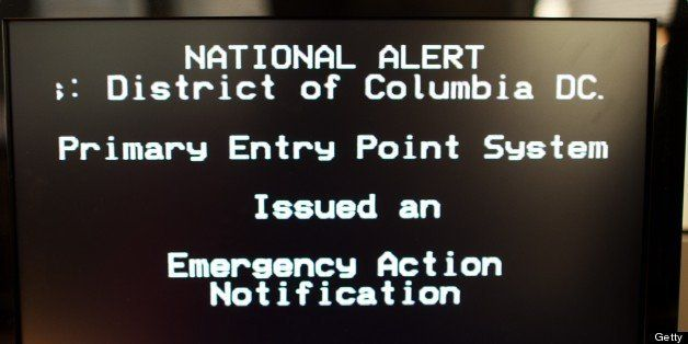 The new Emergency Alert System(EAS) test is viewed on a television screen on November 9, 2011 in Washington, DC. The FCC and