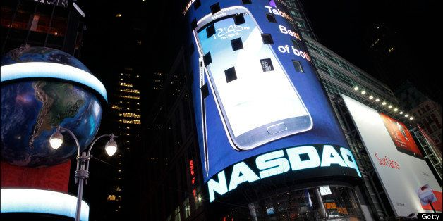 Nighttime view of the NASDAQ MarketSite (at 4 Times Square), New York, New York, January 9, 2013. (Photo by Oliver Morris/Get