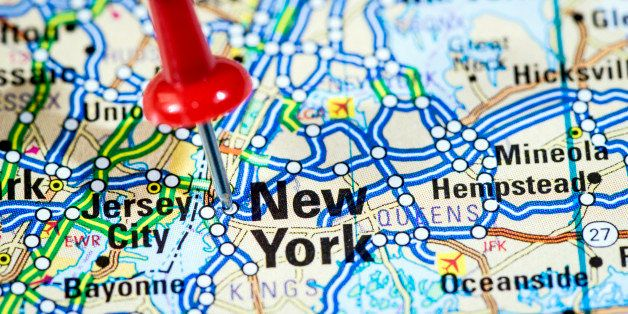 US cities on map series: New York, NY