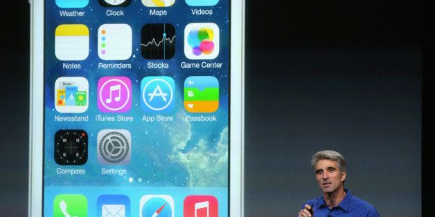 CUPERTINO, CA - SEPTEMBER 10:  Apple Senior Vice President of Software Engineering Craig Federighi speaks about iOS 7 on stag