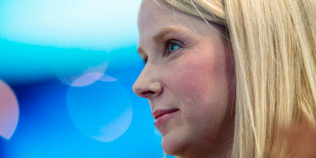 Marissa Mayer, president and chief executive officer of Yahoo! Inc., watches a demonstration during the DreamForce Conference