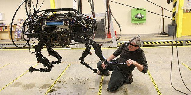 WALTHAM, MA - FEBRUARY 3: A BigDog robot at Boston Dynamics. Innovation Economy column on local robotics company called Bosto