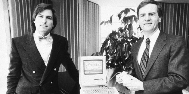 16th January 1984:  American businessman Steve Jobs (L), Chairman of Apple Computers, and John Sculley, Apple's president, po