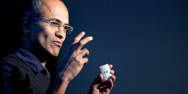 Satya Nadella, senior vice president of research and development for the online services division for Microsoft Corp., speaks