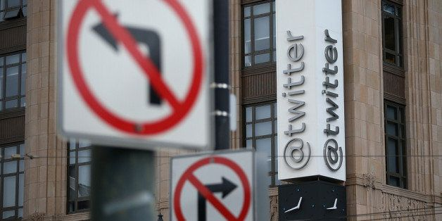 SAN FRANCISCO, CA - FEBRUARY 05:  A sign is posted on the exterior of the Twitter headquarters on February 5, 2014 in San Fra