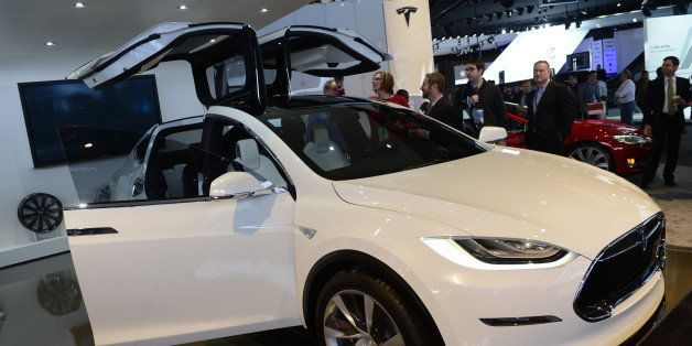 The Tesla Model X is introduced at the 2013 North American International Auto Show in Detroit, Michigan, January 15, 2013. AF