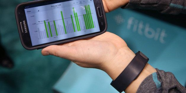 LAS VEGAS, NV - JANUARY 07: Data collected from the Fitbit Force is displayed on a smartphone in the...