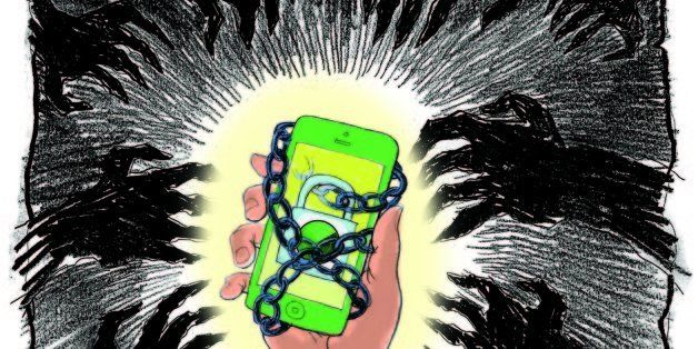 USA - 2013 300 dpi Chuck Todd illustration of smartphone wrapped in chains; can be used with stories about how to protect a s