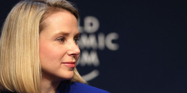 Marissa Mayer, chief executive officer of Yahoo! Inc., pauses during a session on the opening day of the World Economic Forum