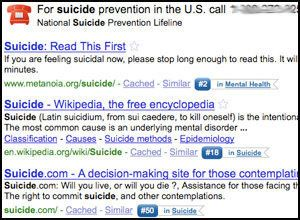 Google Offers Suicide Hotline Info For Suicide-Related