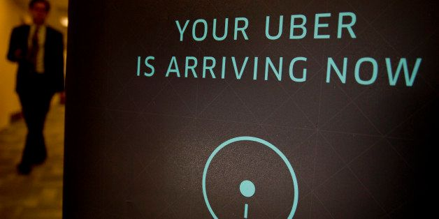 Uber Technologies Inc. signage stands inside the company's office prior to Senator Marco Rubio, a Republican from Florida, sp