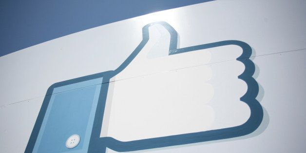 A Facebook Like Button logo is seen at the entrance of the Facebook headquarters in Menlo Park on May 10, 2012 in California.