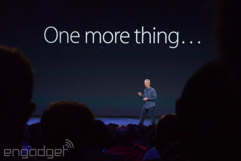 "After introducing the iPhone 6 and iPhone 6 Plus, Tim Cook used Steve Jobs's iconic ""one more thing"" phrase to introduce Appl"